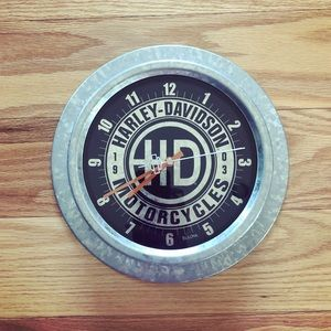 RARE silver metal Harley Davidson wall clock for sale